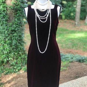 Burgundy velvet cocktail dress